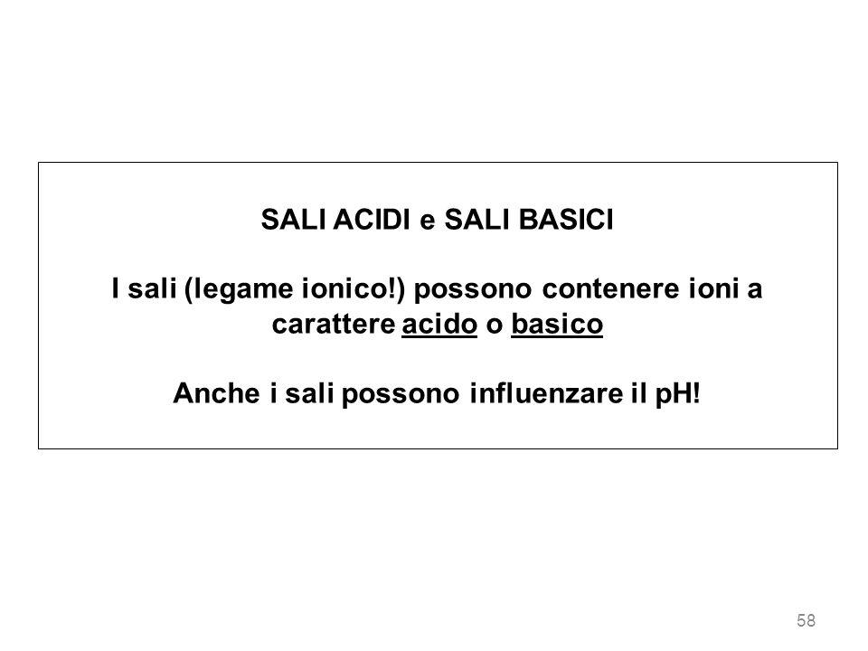 58 SALI ACIDI e SALI BASICI I sali (legame ionico!) possono contenere ioni a carattere acido o basico Anche i sali possono influenzare il pH!