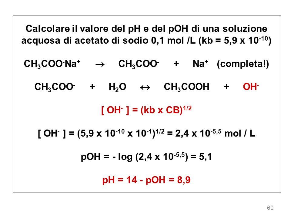 60 Calcolare il valore del pH e del pOH di una soluzione acquosa di acetato di sodio 0,1 mol /L (kb = 5,9 x 10 -10 ) CH 3 COO - Na + CH 3 COO - + Na +