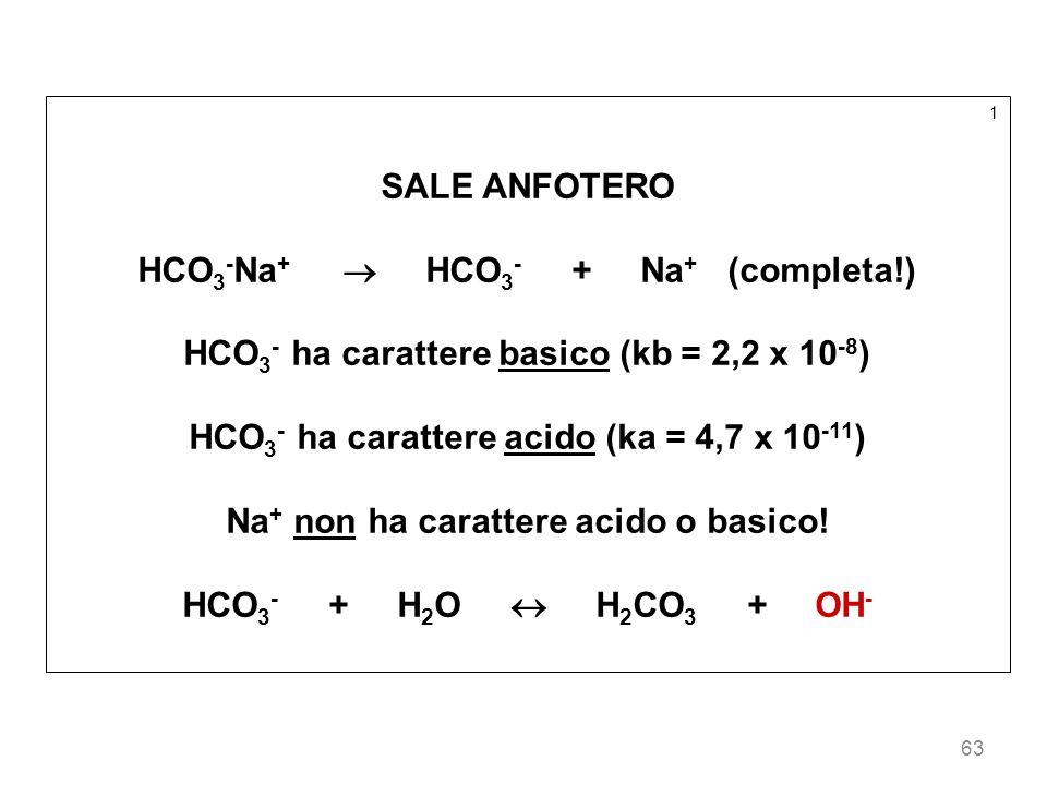 63 1 SALE ANFOTERO HCO 3 - Na + HCO 3 - + Na + (completa!) HCO 3 - ha carattere basico (kb = 2,2 x 10 -8 ) HCO 3 - ha carattere acido (ka = 4,7 x 10 -