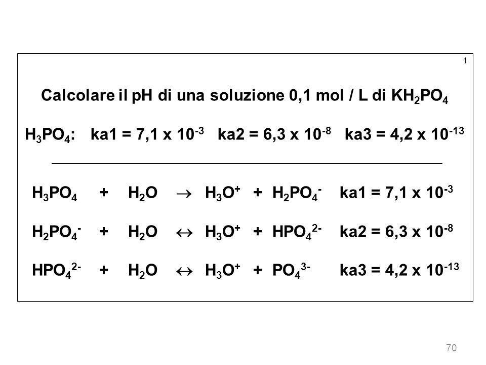 70 1 Calcolare il pH di una soluzione 0,1 mol / L di KH 2 PO 4 H 3 PO 4 : ka1 = 7,1 x 10 -3 ka2 = 6,3 x 10 -8 ka3 = 4,2 x 10 -13 H 3 PO 4 +H 2 O H 3 O