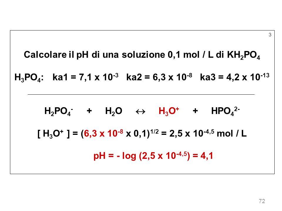 72 3 Calcolare il pH di una soluzione 0,1 mol / L di KH 2 PO 4 H 3 PO 4 : ka1 = 7,1 x 10 -3 ka2 = 6,3 x 10 -8 ka3 = 4,2 x 10 -13 H 2 PO 4 - + H 2 O H