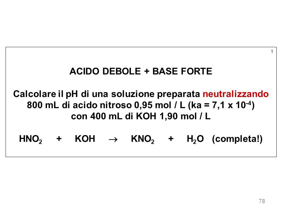 78 1 ACIDO DEBOLE + BASE FORTE Calcolare il pH di una soluzione preparata neutralizzando 800 mL di acido nitroso 0,95 mol / L (ka = 7,1 x 10 -4 ) con