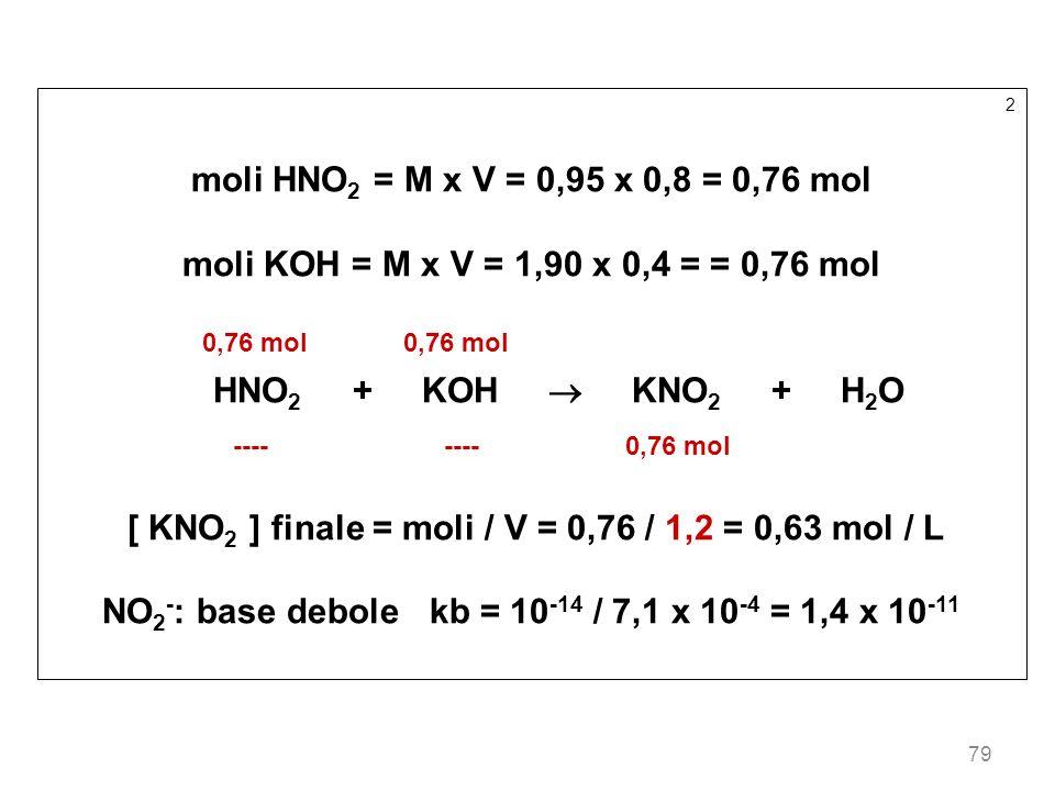 79 2 moli HNO 2 = M x V = 0,95 x 0,8 = 0,76 mol moli KOH = M x V = 1,90 x 0,4 = = 0,76 mol 0,76 mol 0,76 mol HNO 2 + KOH KNO 2 + H 2 O ---- ---- 0,76