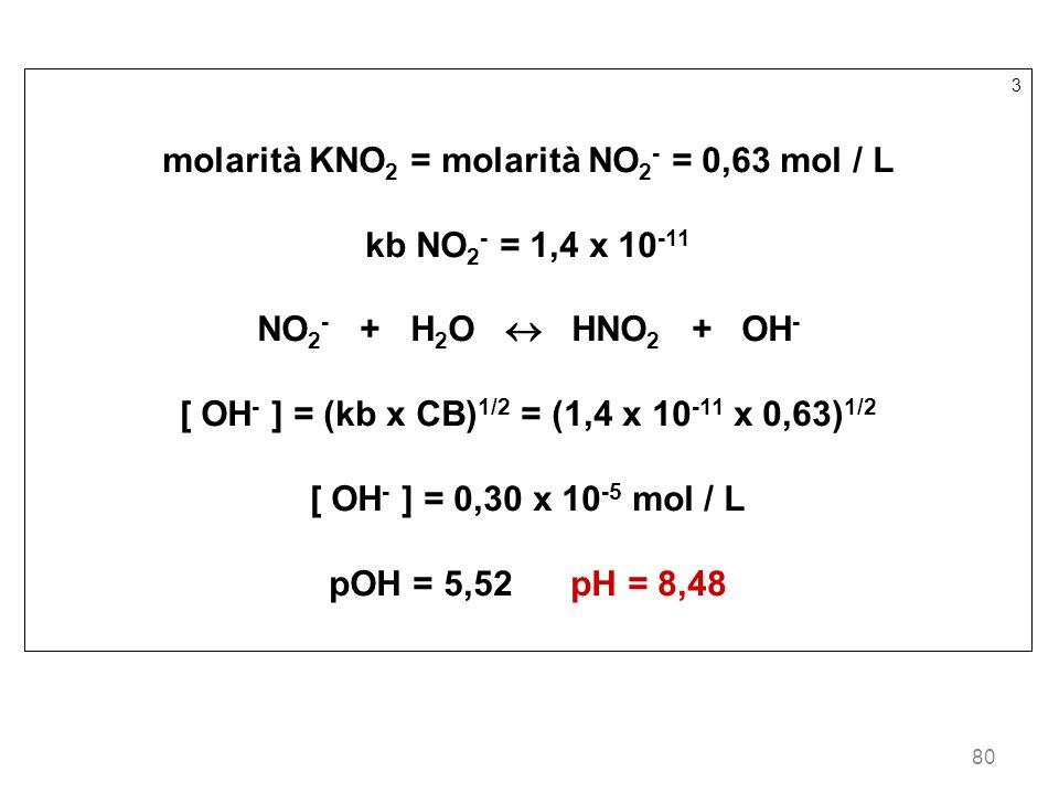 80 3 molarità KNO 2 = molarità NO 2 - = 0,63 mol / L kb NO 2 - = 1,4 x 10 -11 NO 2 - + H 2 O HNO 2 + OH - [ OH - ] = (kb x CB) 1/2 = (1,4 x 10 -11 x 0