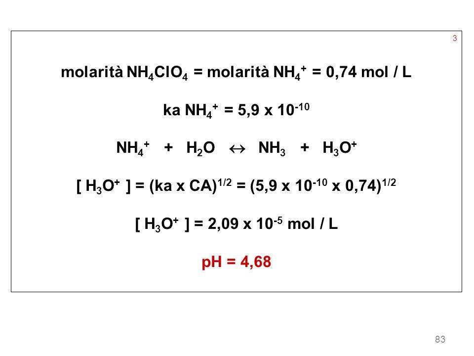 83 3 molarità NH 4 ClO 4 = molarità NH 4 + = 0,74 mol / L ka NH 4 + = 5,9 x 10 -10 NH 4 + + H 2 O NH 3 + H 3 O + [ H 3 O + ] = (ka x CA) 1/2 = (5,9 x