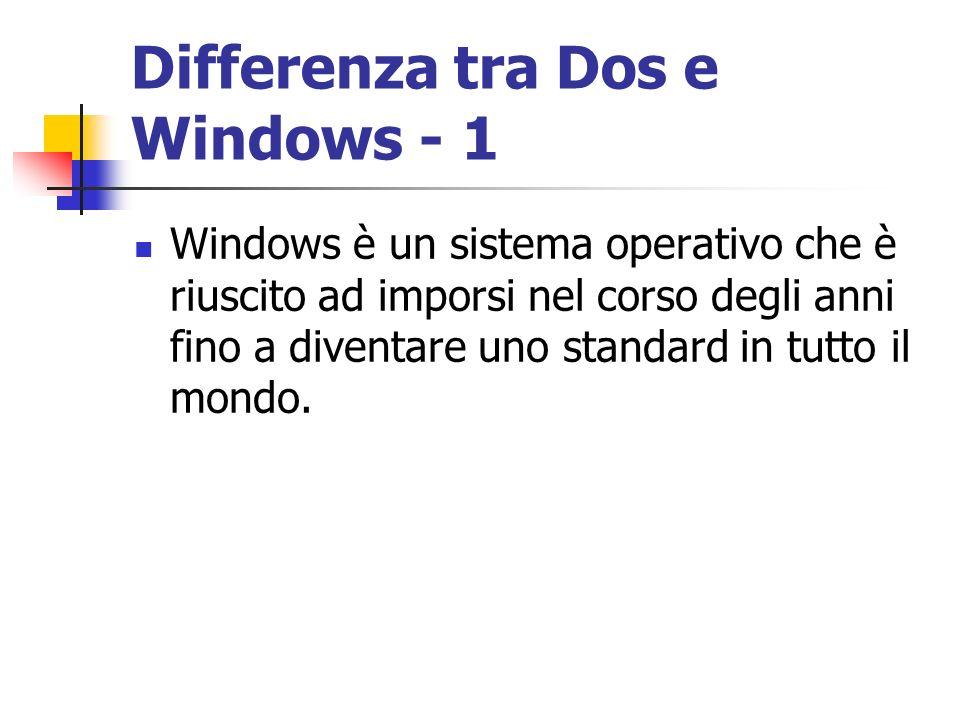 Differenza tra Dos e Windows - 1 Windows è un sistema operativo che è riuscito ad imporsi nel corso degli anni fino a diventare uno standard in tutto