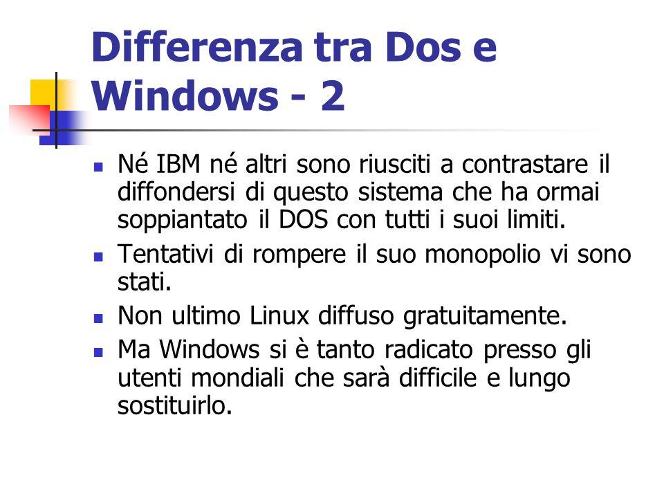 Differenza tra Dos e Windows - 2 Né IBM né altri sono riusciti a contrastare il diffondersi di questo sistema che ha ormai soppiantato il DOS con tutt