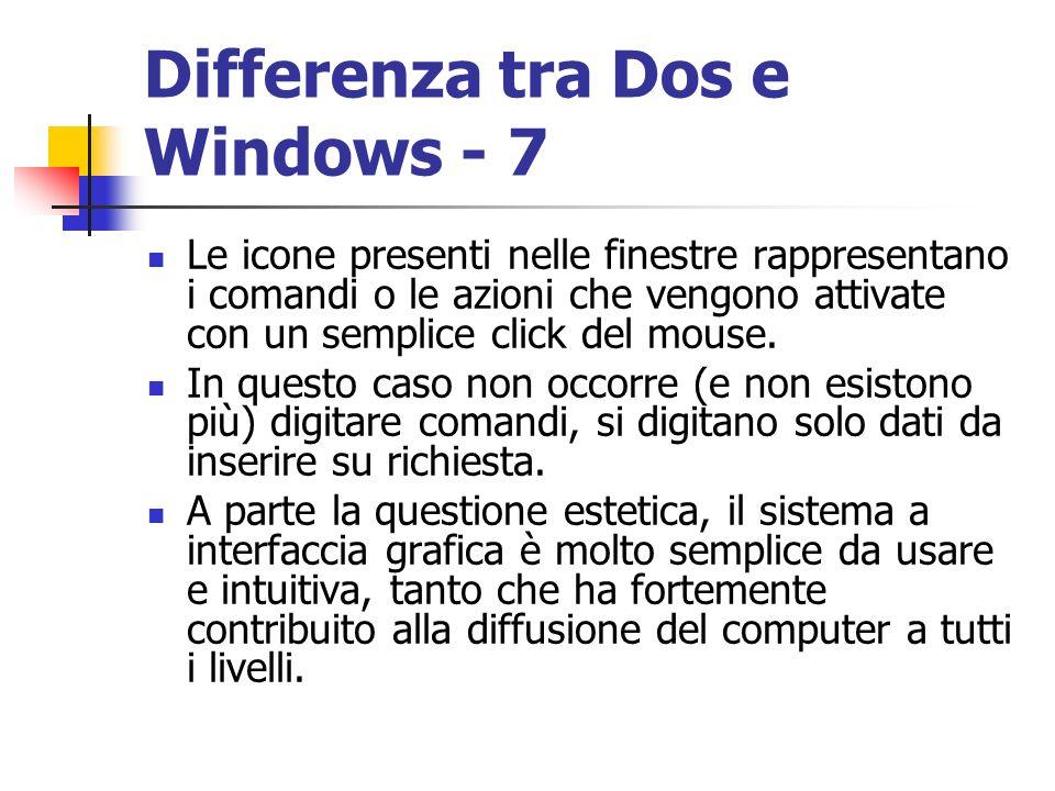 Differenza tra Dos e Windows - 7 Le icone presenti nelle finestre rappresentano i comandi o le azioni che vengono attivate con un semplice click del m