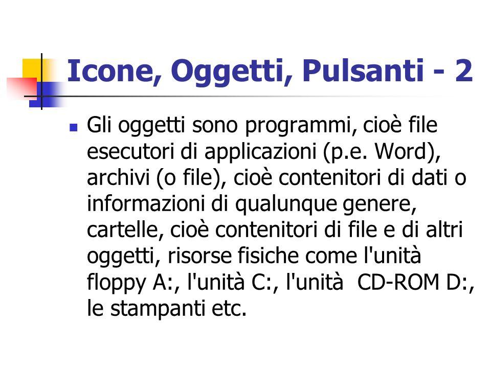Icone, Oggetti, Pulsanti - 2 Gli oggetti sono programmi, cioè file esecutori di applicazioni (p.e. Word), archivi (o file), cioè contenitori di dati o