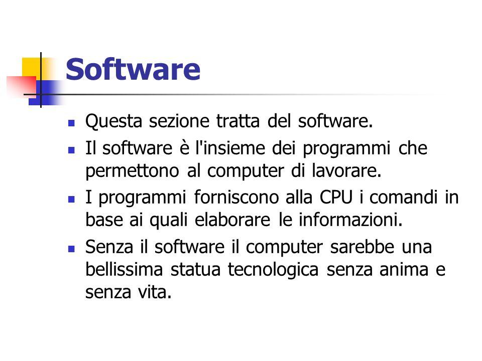 Software Questa sezione tratta del software. Il software è l'insieme dei programmi che permettono al computer di lavorare. I programmi forniscono alla