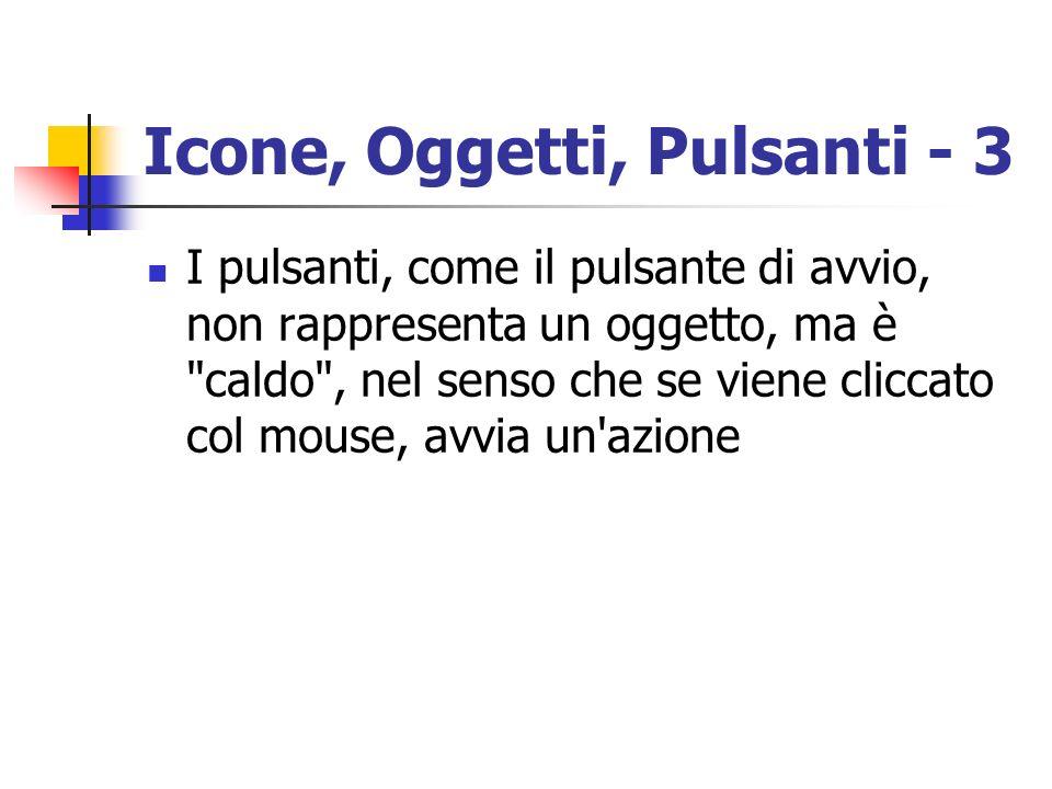 Icone, Oggetti, Pulsanti - 3 I pulsanti, come il pulsante di avvio, non rappresenta un oggetto, ma è
