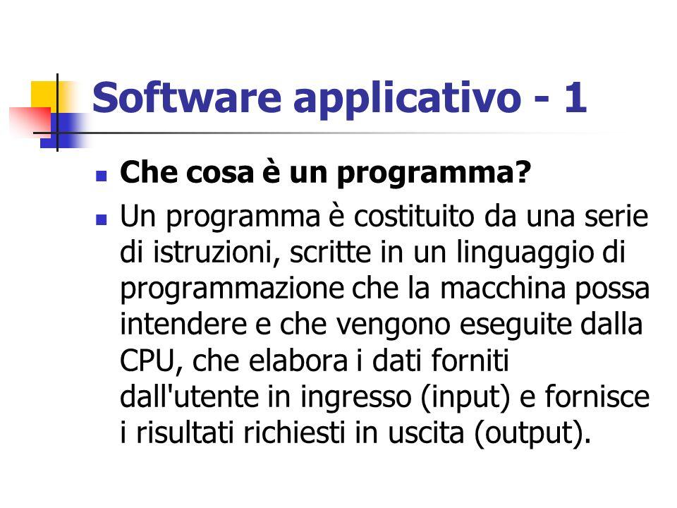Software applicativo - 1 Che cosa è un programma? Un programma è costituito da una serie di istruzioni, scritte in un linguaggio di programmazione che
