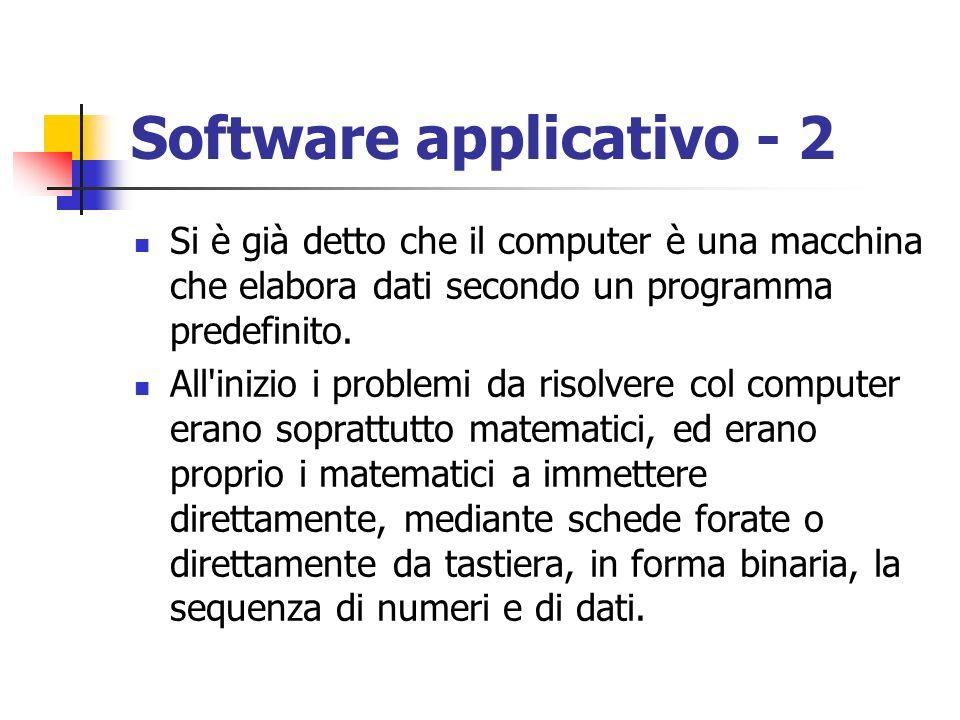 Software applicativo - 2 Si è già detto che il computer è una macchina che elabora dati secondo un programma predefinito. All'inizio i problemi da ris