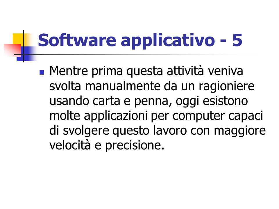 Software applicativo - 5 Mentre prima questa attività veniva svolta manualmente da un ragioniere usando carta e penna, oggi esistono molte applicazion