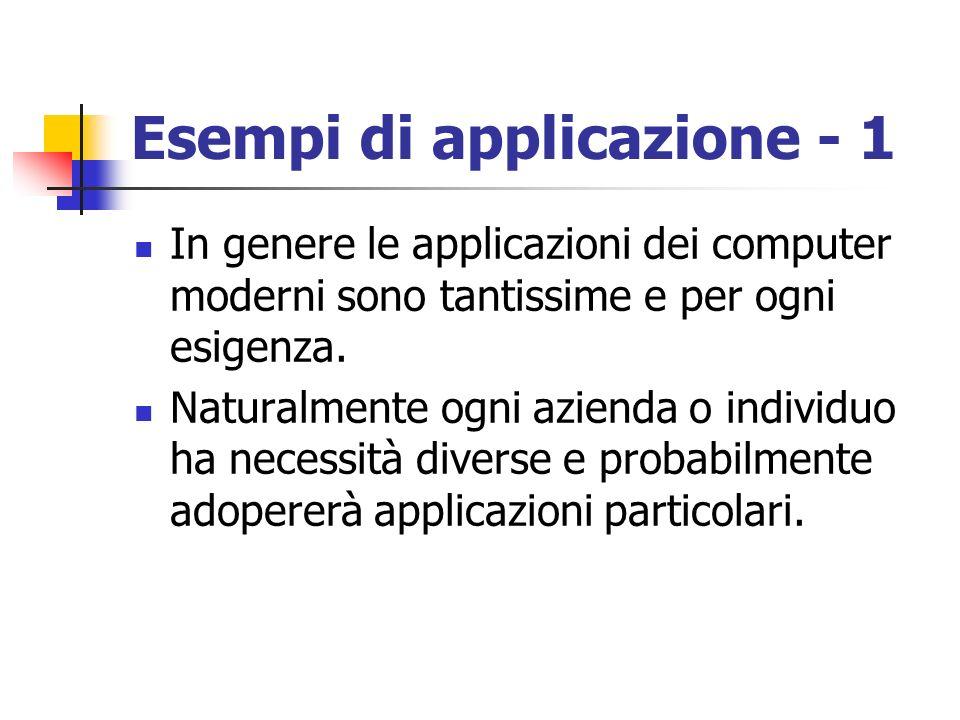 Esempi di applicazione - 1 In genere le applicazioni dei computer moderni sono tantissime e per ogni esigenza. Naturalmente ogni azienda o individuo h