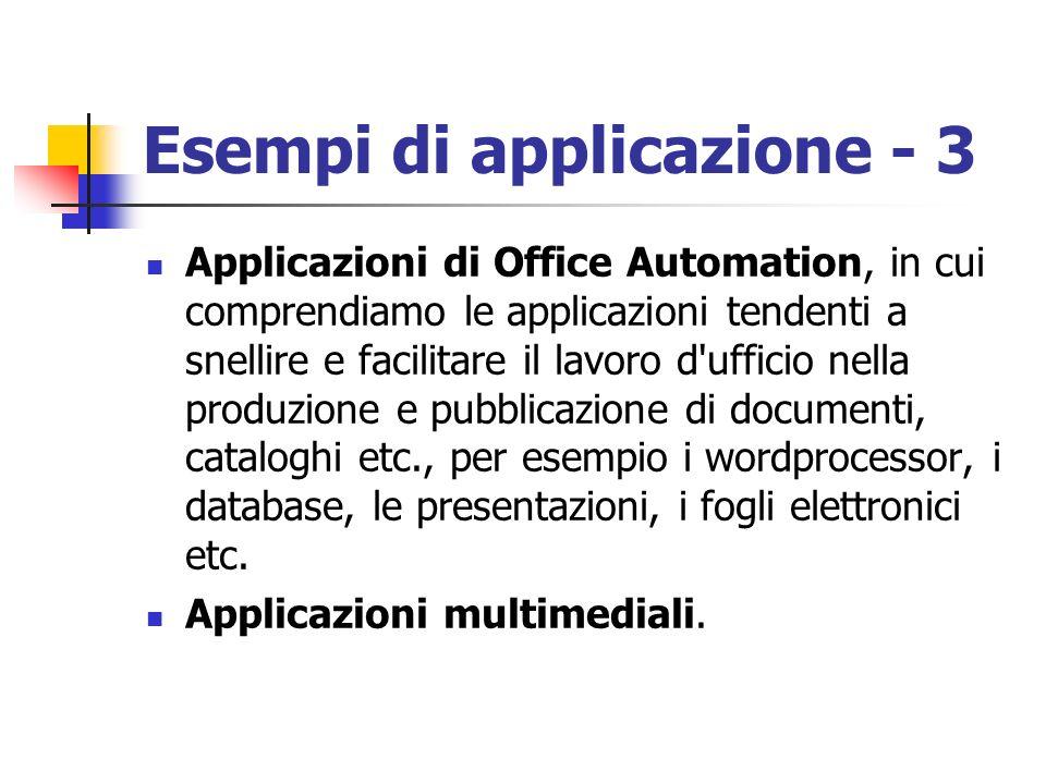 Esempi di applicazione - 3 Applicazioni di Office Automation, in cui comprendiamo le applicazioni tendenti a snellire e facilitare il lavoro d'ufficio