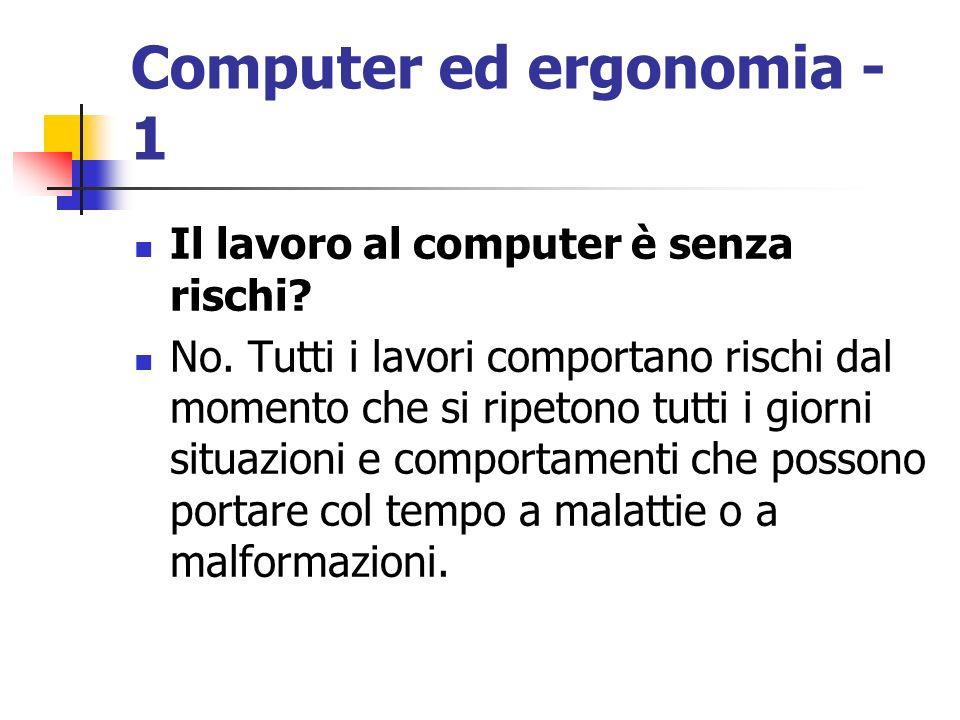 Computer ed ergonomia - 1 Il lavoro al computer è senza rischi? No. Tutti i lavori comportano rischi dal momento che si ripetono tutti i giorni situaz