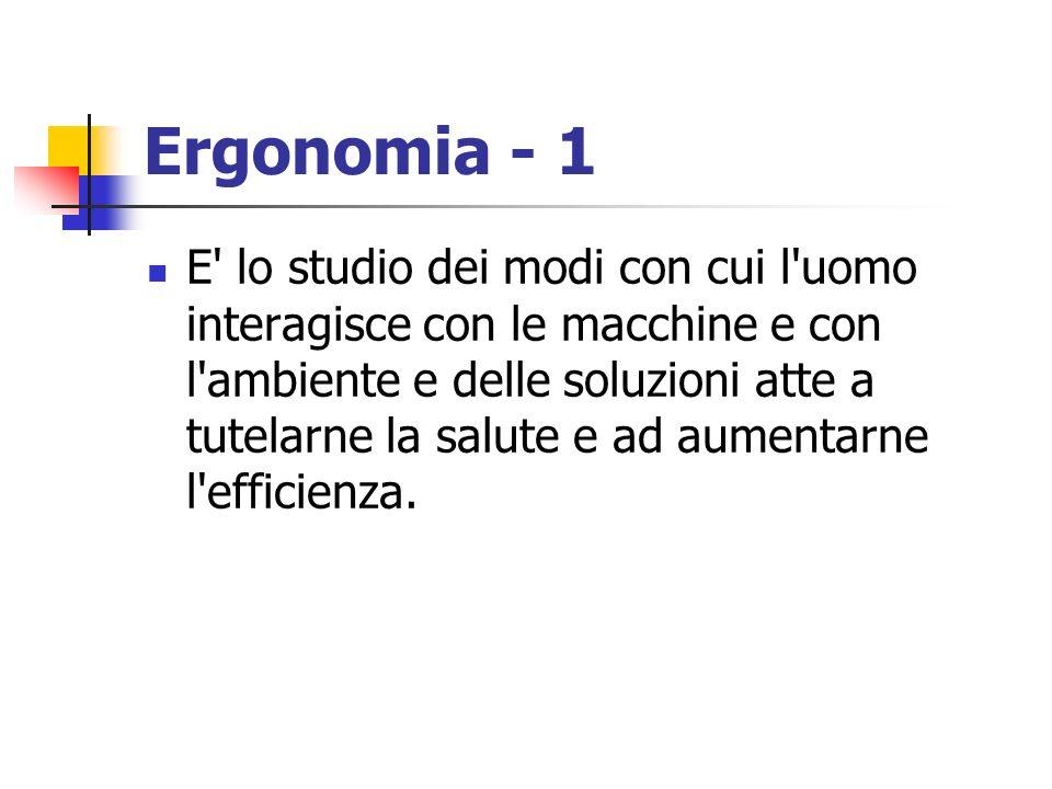 Ergonomia - 1 E' lo studio dei modi con cui l'uomo interagisce con le macchine e con l'ambiente e delle soluzioni atte a tutelarne la salute e ad aume