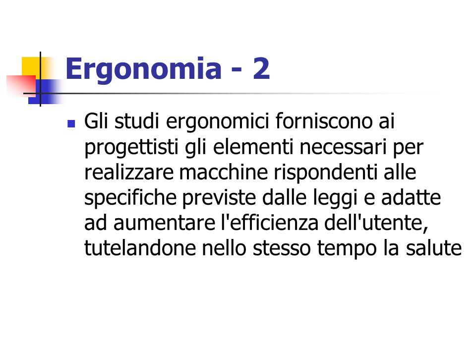 Ergonomia - 2 Gli studi ergonomici forniscono ai progettisti gli elementi necessari per realizzare macchine rispondenti alle specifiche previste dalle
