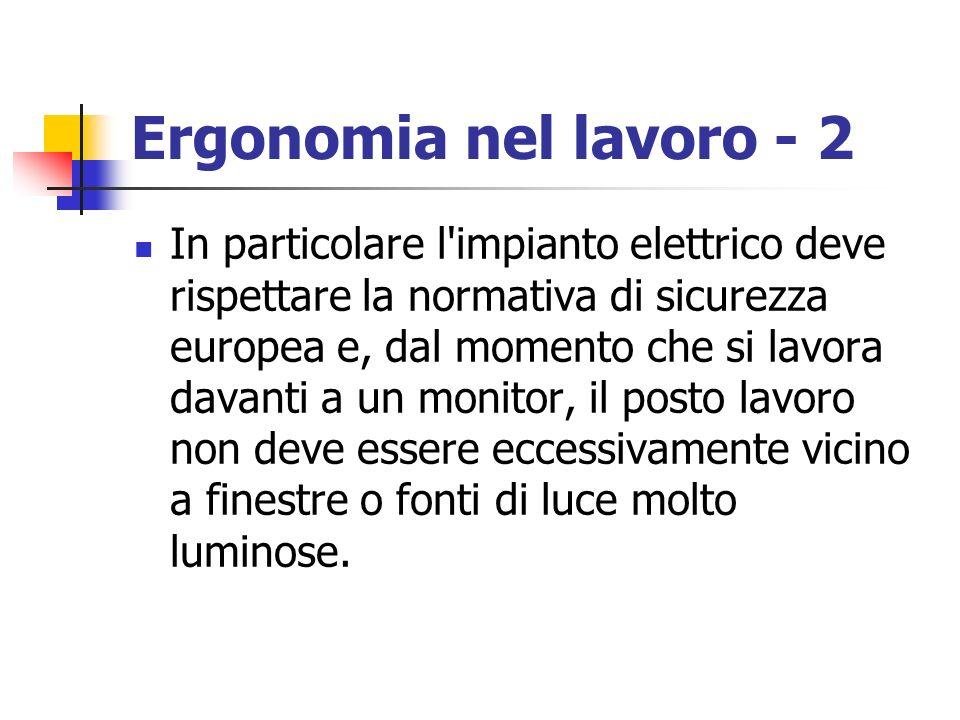 Ergonomia nel lavoro - 2 In particolare l'impianto elettrico deve rispettare la normativa di sicurezza europea e, dal momento che si lavora davanti a