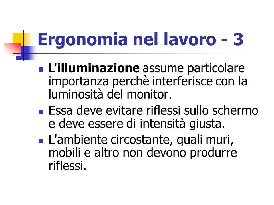 Ergonomia nel lavoro - 3 L'illuminazione assume particolare importanza perchè interferisce con la luminosità del monitor. Essa deve evitare riflessi s