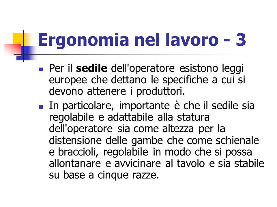 Ergonomia nel lavoro - 3 Per il sedile dell'operatore esistono leggi europee che dettano le specifiche a cui si devono attenere i produttori. In parti
