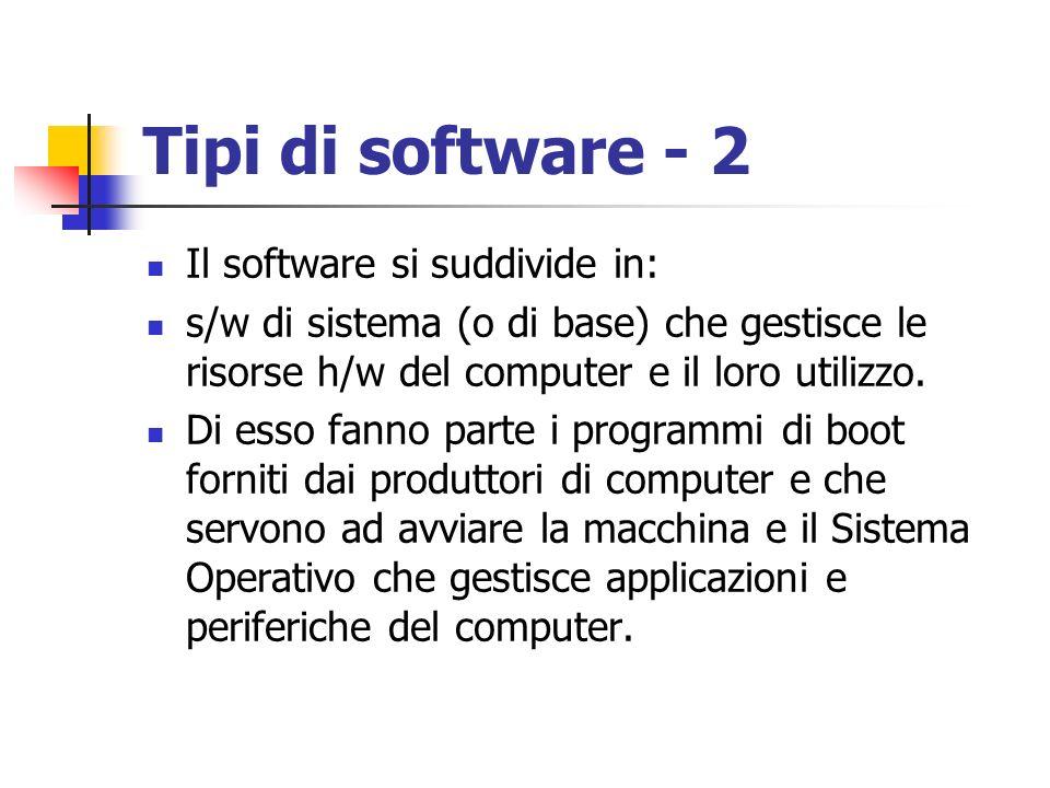Tipi di software - 2 Il software si suddivide in: s/w di sistema (o di base) che gestisce le risorse h/w del computer e il loro utilizzo. Di esso fann
