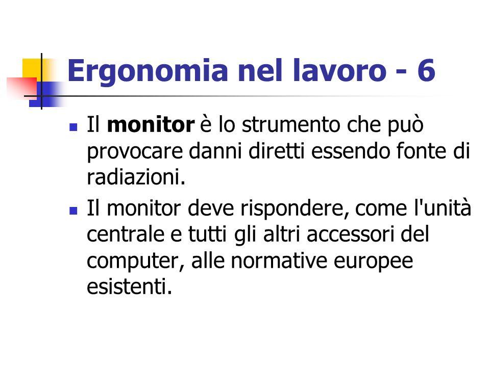 Ergonomia nel lavoro - 6 Il monitor è lo strumento che può provocare danni diretti essendo fonte di radiazioni. Il monitor deve rispondere, come l'uni