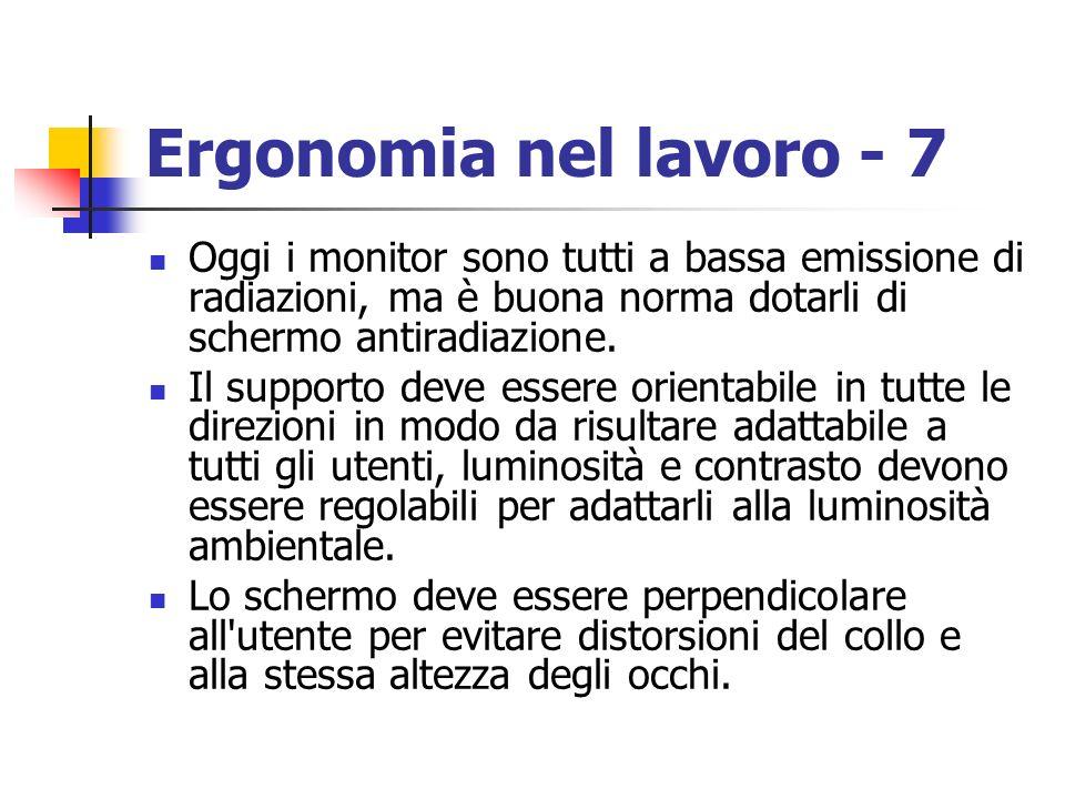 Ergonomia nel lavoro - 7 Oggi i monitor sono tutti a bassa emissione di radiazioni, ma è buona norma dotarli di schermo antiradiazione. Il supporto de