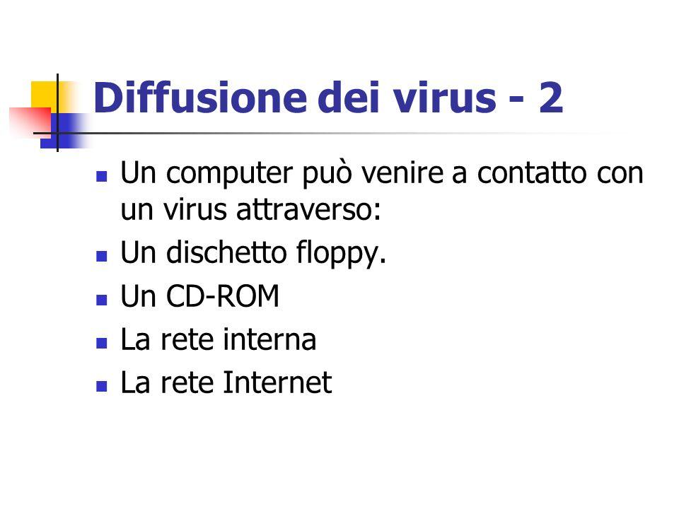 Diffusione dei virus - 2 Un computer può venire a contatto con un virus attraverso: Un dischetto floppy. Un CD-ROM La rete interna La rete Internet