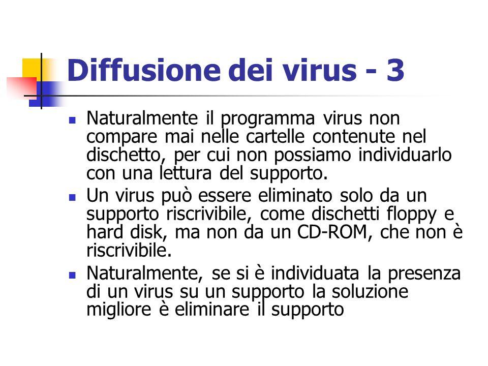 Diffusione dei virus - 3 Naturalmente il programma virus non compare mai nelle cartelle contenute nel dischetto, per cui non possiamo individuarlo con