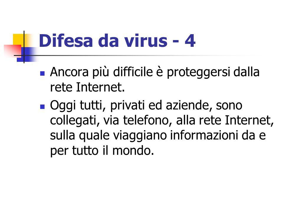 Difesa da virus - 4 Ancora più difficile è proteggersi dalla rete Internet. Oggi tutti, privati ed aziende, sono collegati, via telefono, alla rete In