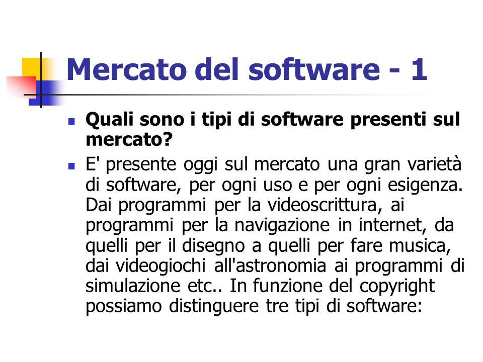 Mercato del software - 1 Quali sono i tipi di software presenti sul mercato? E' presente oggi sul mercato una gran varietà di software, per ogni uso e