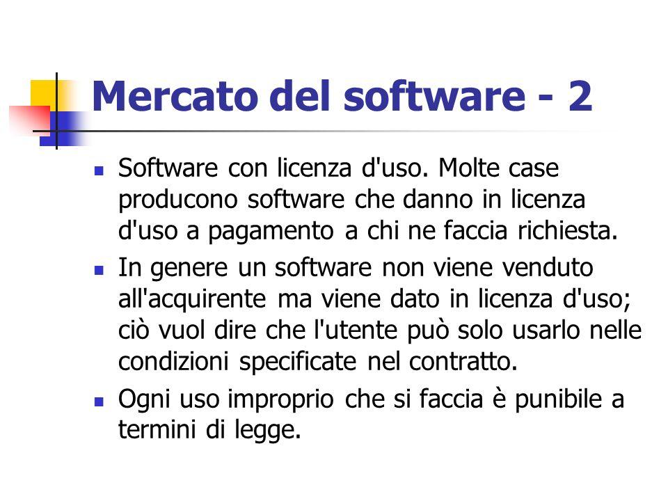 Mercato del software - 2 Software con licenza d'uso. Molte case producono software che danno in licenza d'uso a pagamento a chi ne faccia richiesta. I