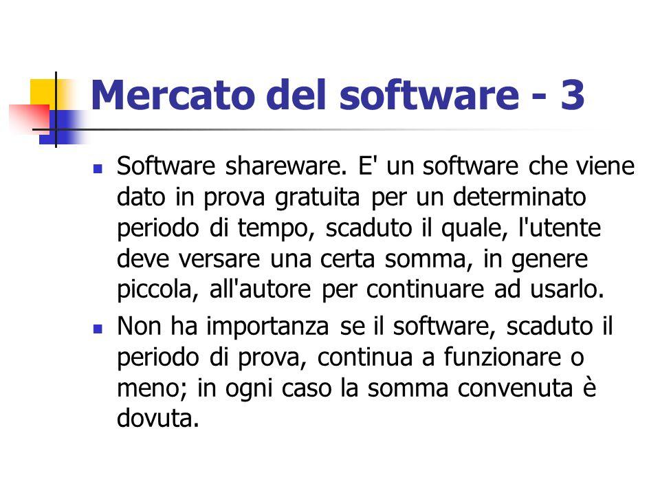 Mercato del software - 3 Software shareware. E' un software che viene dato in prova gratuita per un determinato periodo di tempo, scaduto il quale, l'