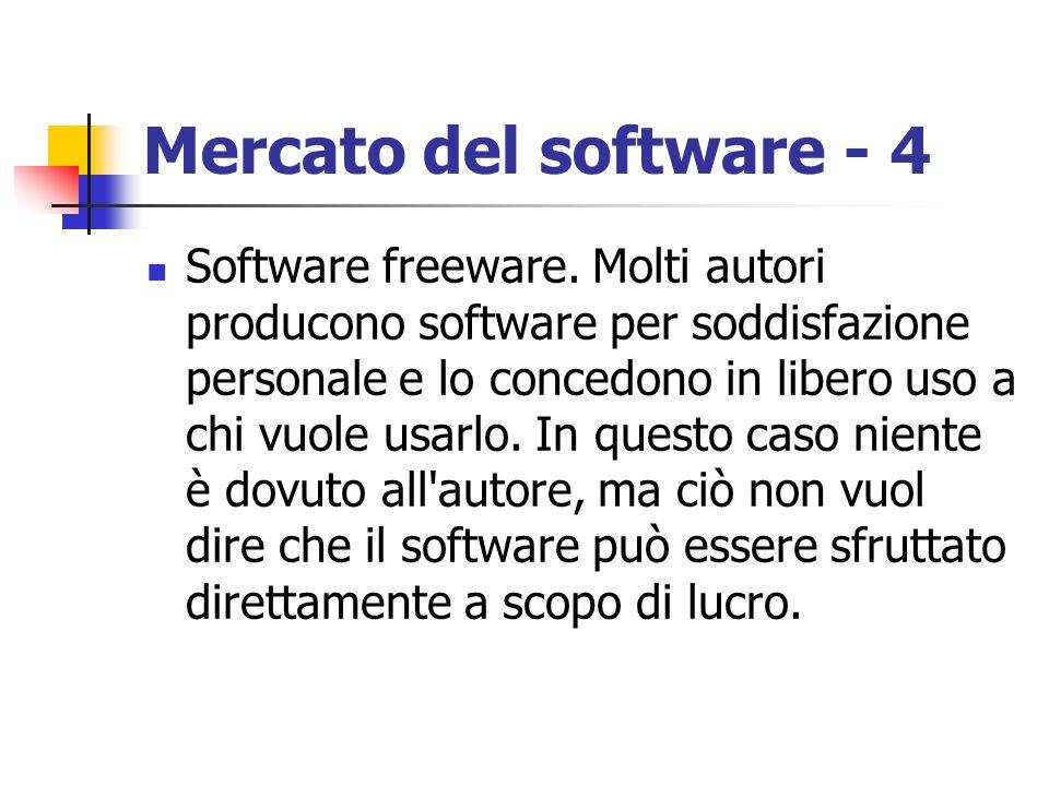 Mercato del software - 4 Software freeware. Molti autori producono software per soddisfazione personale e lo concedono in libero uso a chi vuole usarl