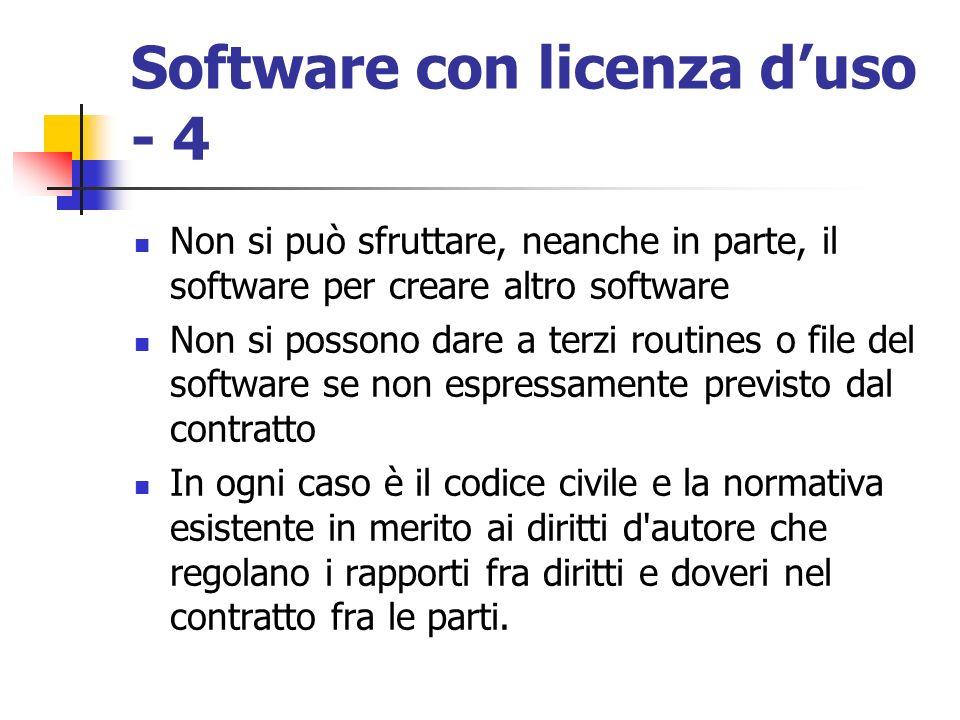 Software con licenza duso - 4 Non si può sfruttare, neanche in parte, il software per creare altro software Non si possono dare a terzi routines o fil