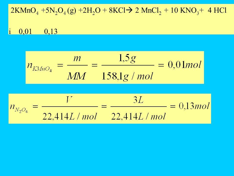 Reagente limitante Le moli N 2 O 4 necessarie per fare reagire tutto il permanganato di potassio sono 0,025, sono presenti 0,13 moli di N 2 O 4 (più di quelle necessarie) quindi il reagente limitante è il KMnO 4.