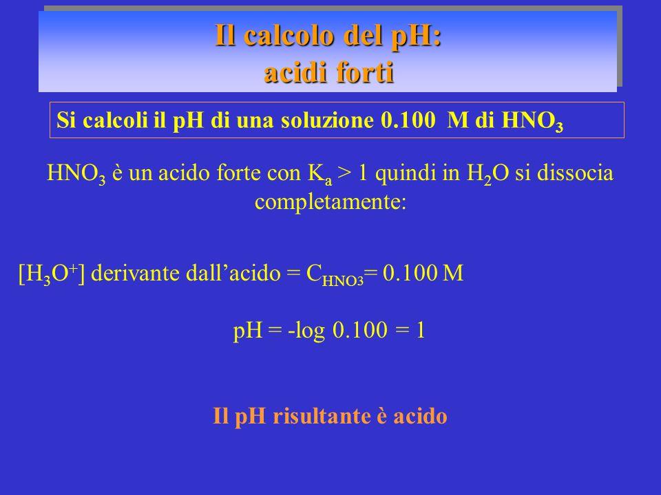 Il calcolo del pH: acidi forti Il calcolo del pH: acidi forti Si calcoli il pH di una soluzione 0.100 M di HNO 3 HNO 3 è un acido forte con K a > 1 qu