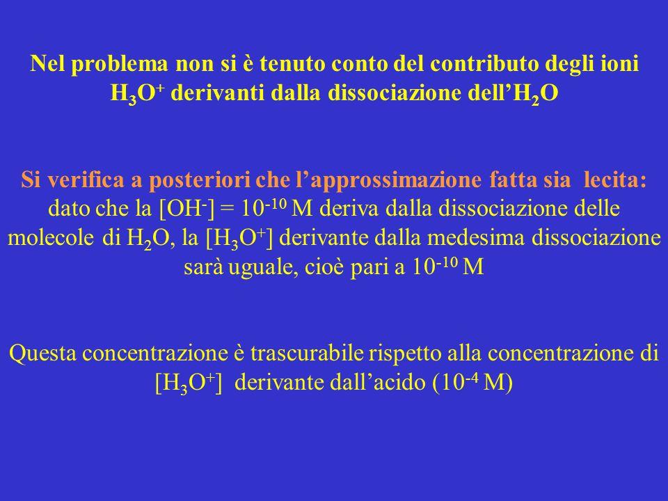Nel problema non si è tenuto conto del contributo degli ioni H 3 O + derivanti dalla dissociazione dellH 2 O Si verifica a posteriori che lapprossimaz