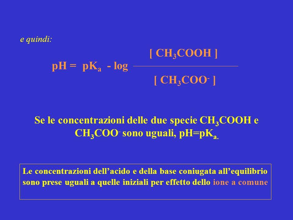 pK a - log [ CH 3 COO - ] pH = [ CH 3 COOH ] Se le concentrazioni delle due specie CH 3 COOH e CH 3 COO - sono uguali, pH=pK a. e quindi: Le concentra