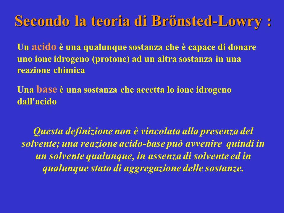 Secondo la teoria di Brönsted-Lowry : Un acido è una qualunque sostanza che è capace di donare uno ione idrogeno (protone) ad un altra sostanza in una