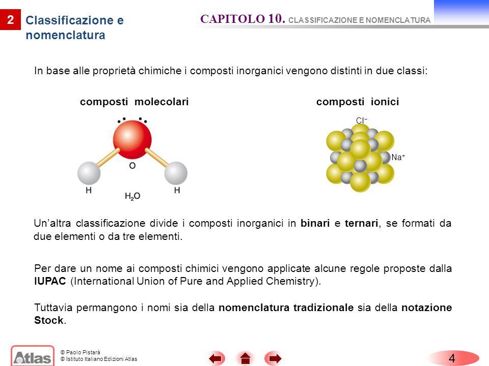 © Paolo Pistarà © Istituto Italiano Edizioni Atlas In base alle proprietà chimiche i composti inorganici vengono distinti in due classi: 4 2 Classific