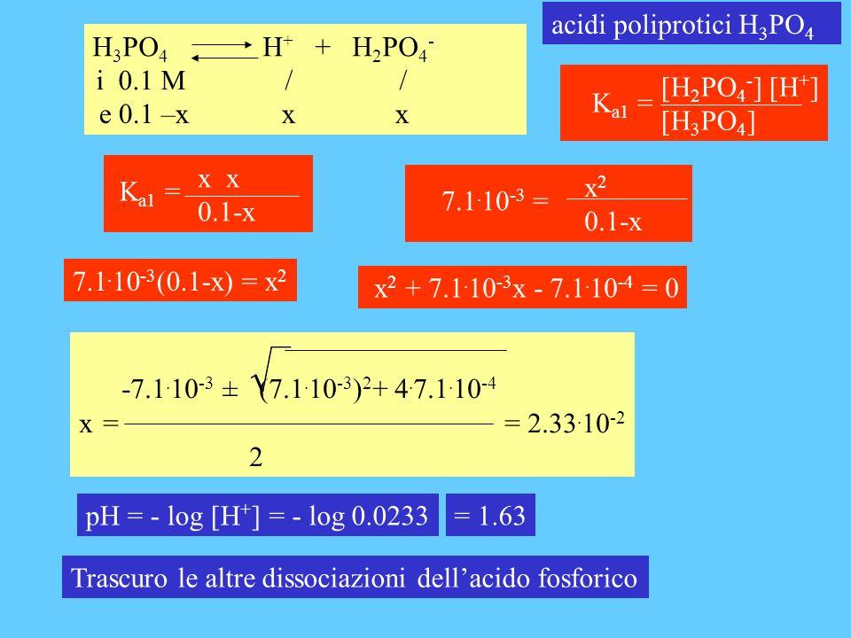 H 3 PO 4 H + + H 2 PO 4 - acidi poliprotici H 3 PO 4 i 0.1 M / / e 0.1 –x x x pH = - log [H + ]= - log 0.0233= 1.63 7.1.
