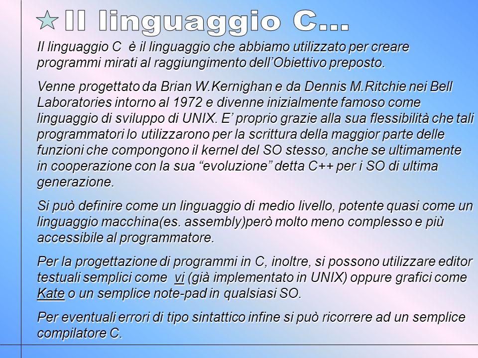Il linguaggio C è il linguaggio che abbiamo utilizzato per creare programmi mirati al raggiungimento dellObiettivo preposto.
