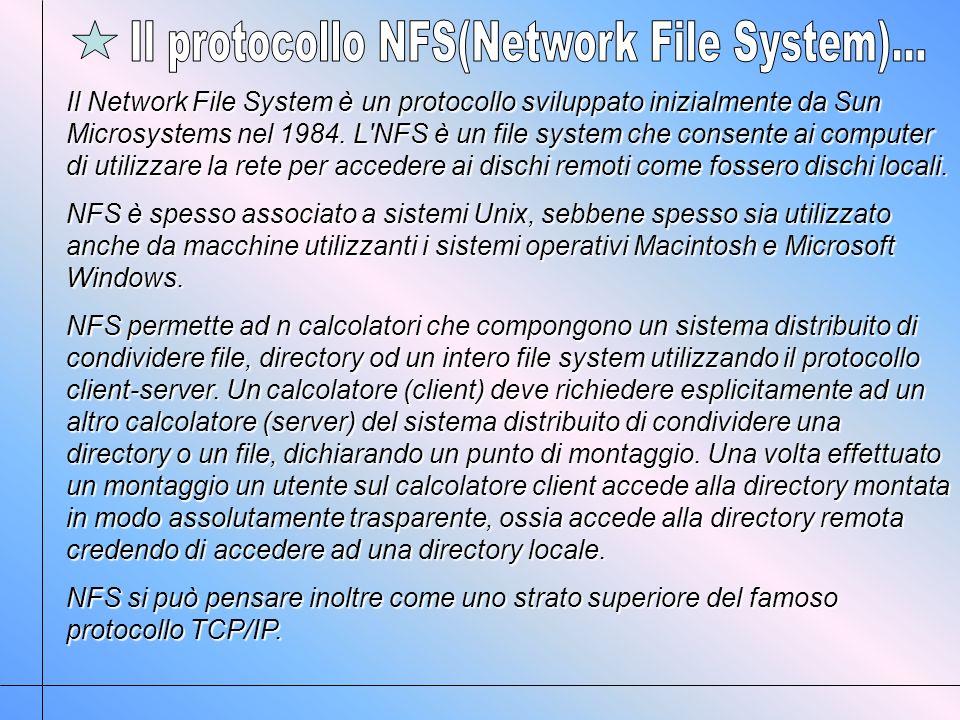 Il Network File System è un protocollo sviluppato inizialmente da Sun Microsystems nel 1984.