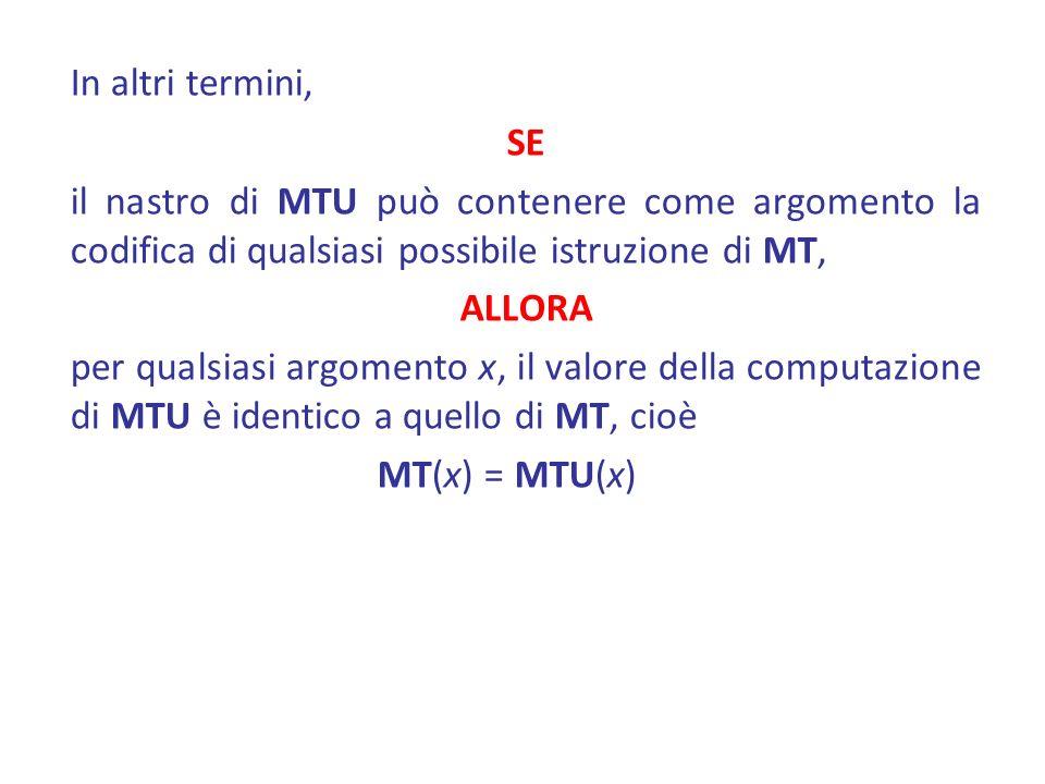 In altri termini, SE il nastro di MTU può contenere come argomento la codifica di qualsiasi possibile istruzione di MT, ALLORA per qualsiasi argomento