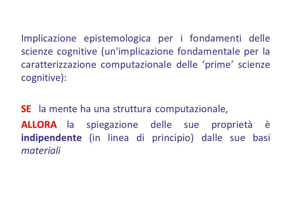 Implicazione epistemologica per i fondamenti delle scienze cognitive (un'implicazione fondamentale per la caratterizzazione computazionale delle prime