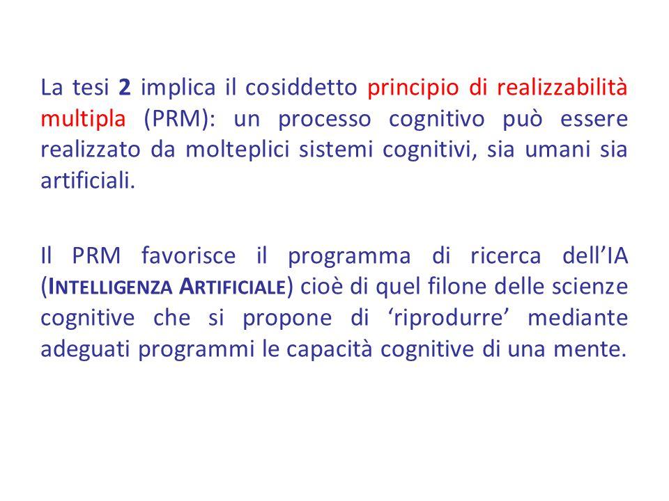 La tesi 2 implica il cosiddetto principio di realizzabilità multipla (PRM): un processo cognitivo può essere realizzato da molteplici sistemi cognitiv