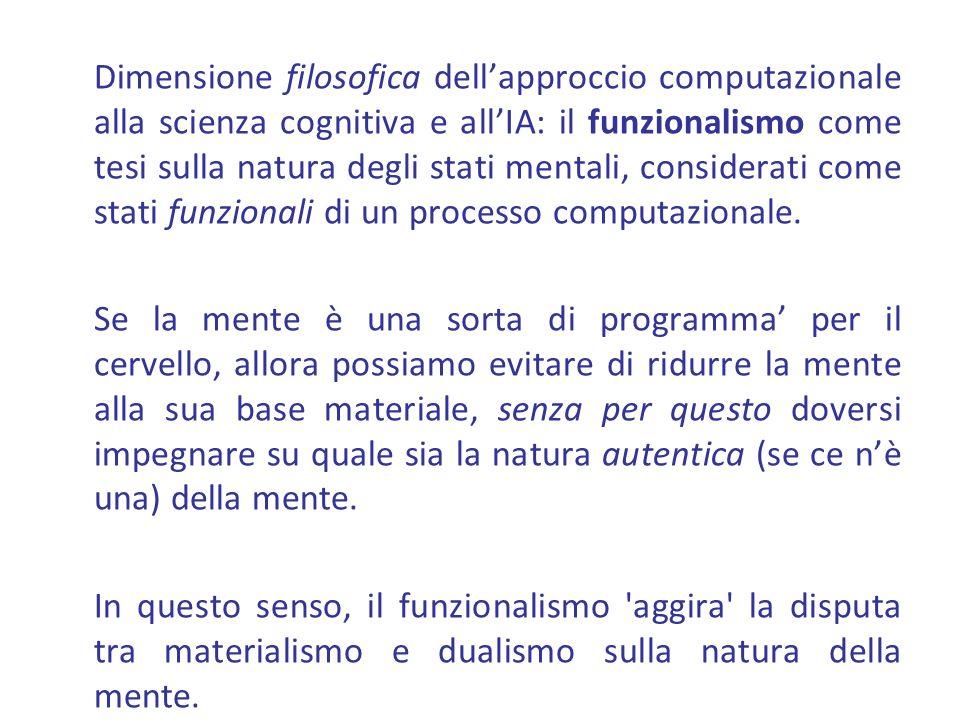 Dimensione filosofica dellapproccio computazionale alla scienza cognitiva e allIA: il funzionalismo come tesi sulla natura degli stati mentali, consid